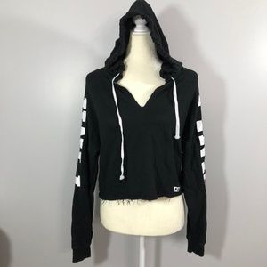 PINK Victoria's Secret Tops - Victoria's Secret Pink Black Cropped Hoodie Size S
